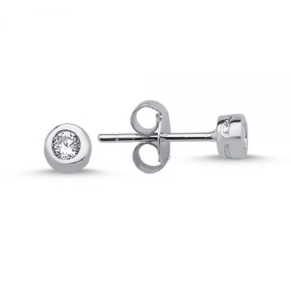 .925 Sterling Silver CZ Round Bezel Stud Earrings 3mm