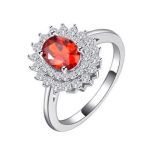 Red Elegant Crystal Flower Ring