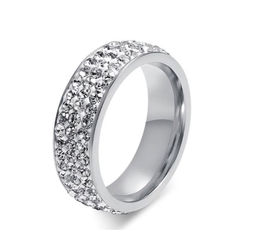 Stainless Steel CZ Eternity Silver Ring
