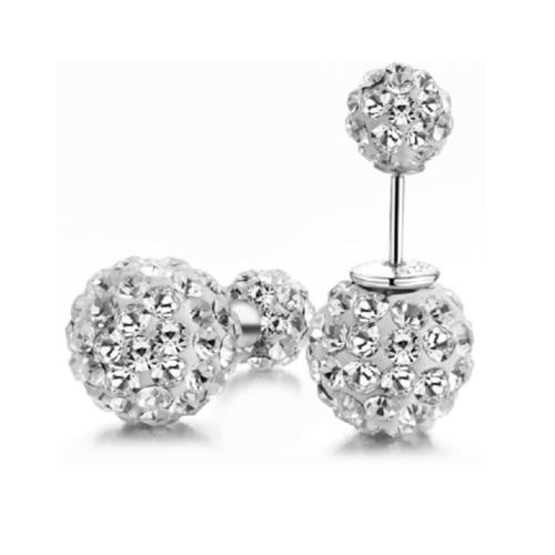 .925 Sterling Silver Double Sided Shamballa Stud Earrings