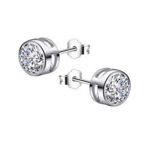 .925 Sterling Silver Round Bezel CZ Stud Earrings 6mm
