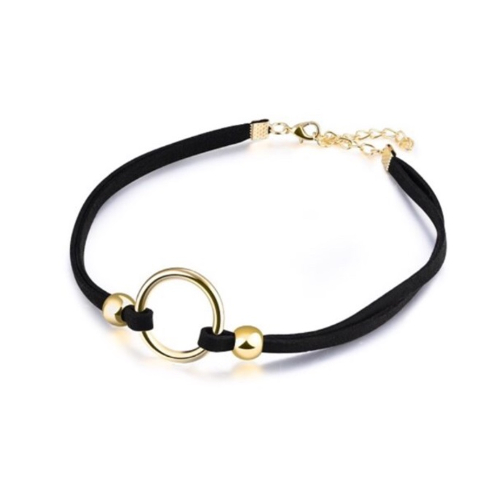 Black Choker Necklace Gold Circle