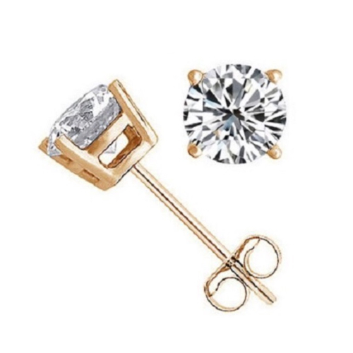 Classic Gold Plated .925 Sterling Silver Round Stud Earrings