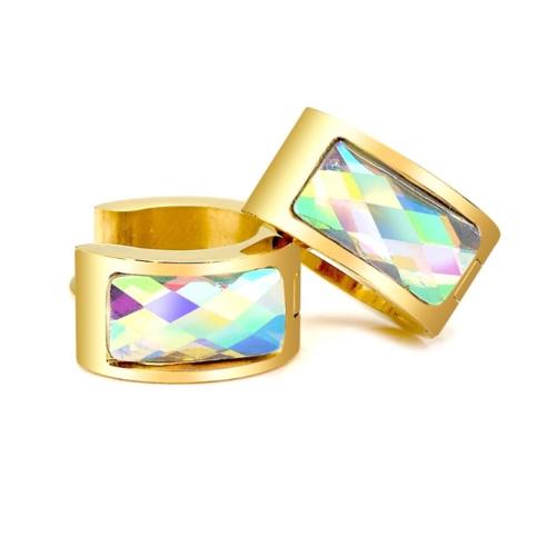 Stainless Steel Gold AB Huggie Earrings
