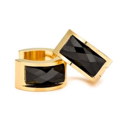Stainless Steel Gold Black Huggie Earrings