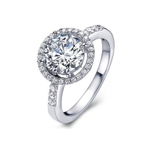 Crystal Simulated Diamond Engagement Ring