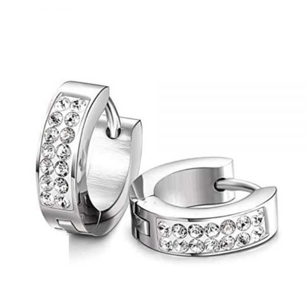 Stainless Steel CZ Huggie Hoop Earrings