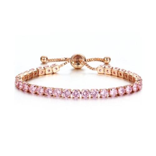 Adjustable Pink Rhinestone Tennis Bracelet
