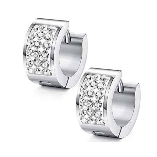 Stainless Steel 3 Row Crystal Huggie Earrings