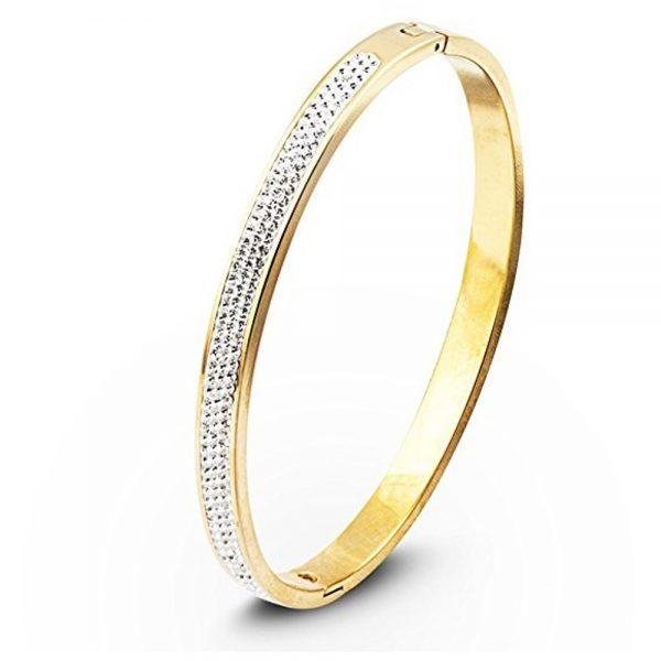 Stainless Steel Gold Rhinestone Bracelet
