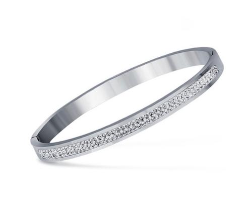 Stainless Steel Silver Rhinestone Bracelet