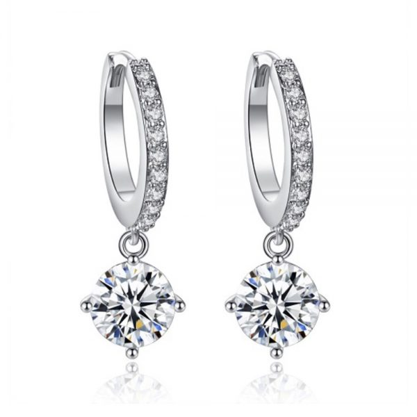 Silver Dangling Rhinestone Earrings