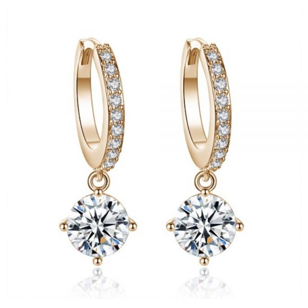 Gold Dangling Rhinestone Earrings
