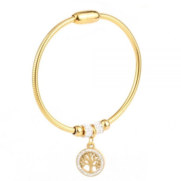 Stainless Steel Tree of Life Gold Bracelet