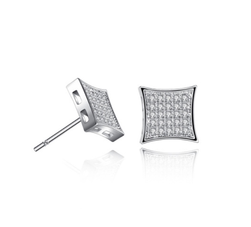 Silver Rhinestone Square Earrings
