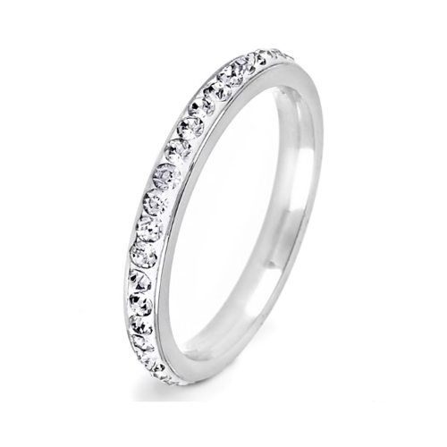 Stainless Steel Eternity Cubic Zirconia Ring