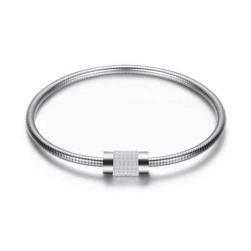 Stainless Steel Silver Rhinestone Bangle