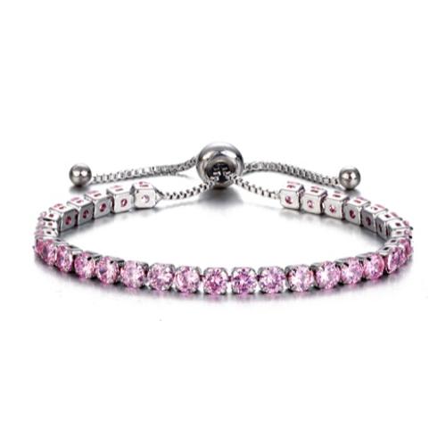 Adjustable Pink Tennis Bracelet