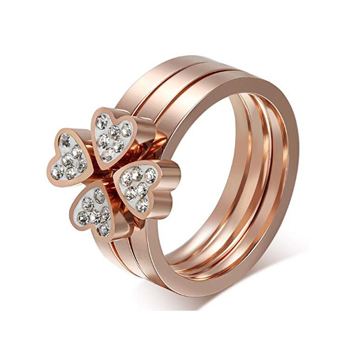 Stainless Steel Four-Clover Leaf Heart Rhinestone Ring