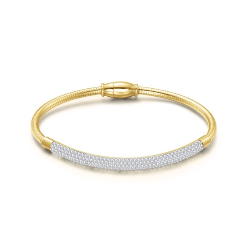 Stainless Steel Gold Bangle Bracelet with Cubic Zirconia