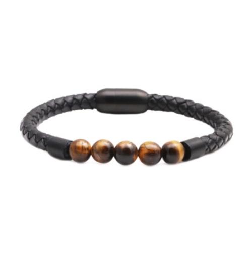 Stainless Steel Leather Wrist Bracelet for Men