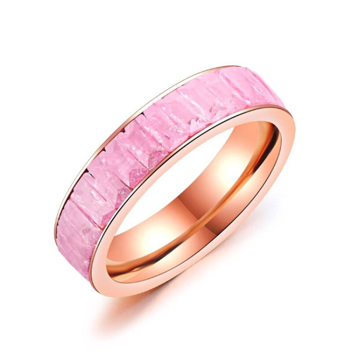 Stainless Steel Multi-layer Pink Rectangular Rose Gold Ring