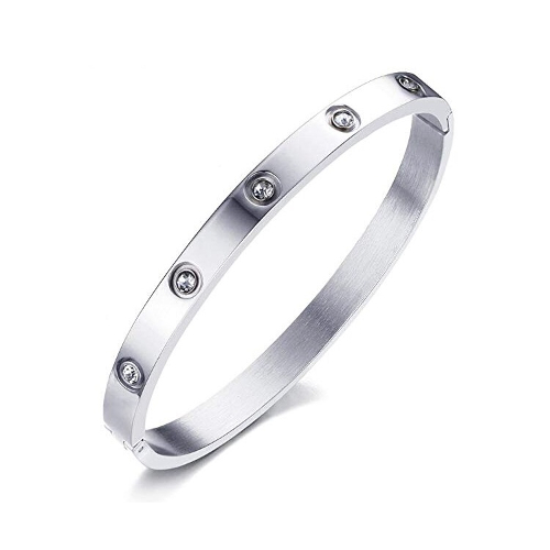 Stainless Steel Rhinestone Bangle Bracelet