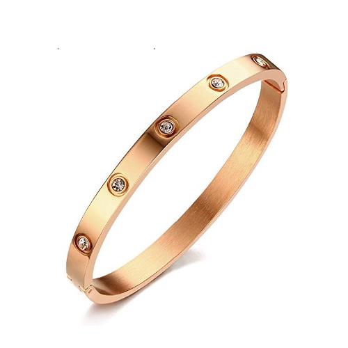 Stainless Steel RoseGold Rhinestone Bangle Bracelet
