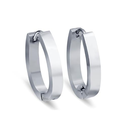 Stainless Steel Silver Oval Earrings