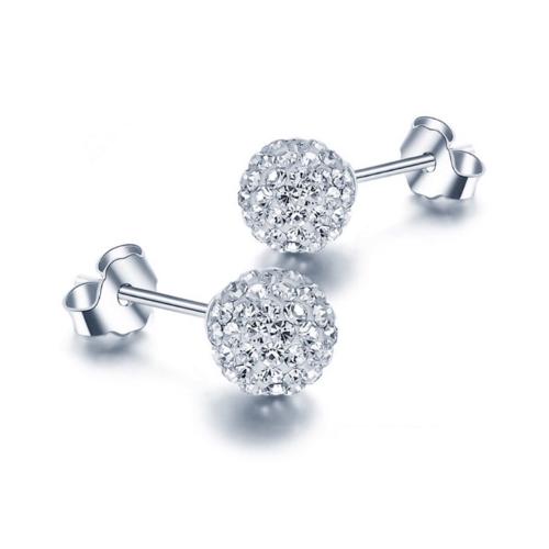.925 Sterling Silver Shamballa Stud Earrings