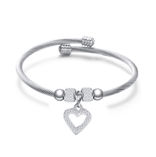 Stainless Steel Cable Wire Heart Bracelet