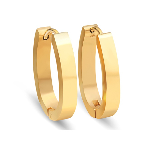 Stainless Steel Gold Oval Earrings