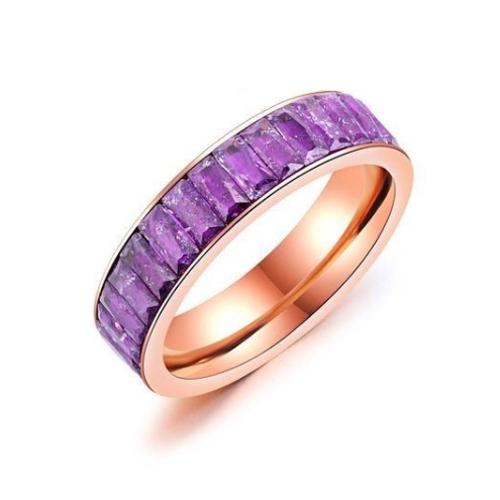 Stainless Steel Multi-layer Purple Rectangular Rose Gold Ring