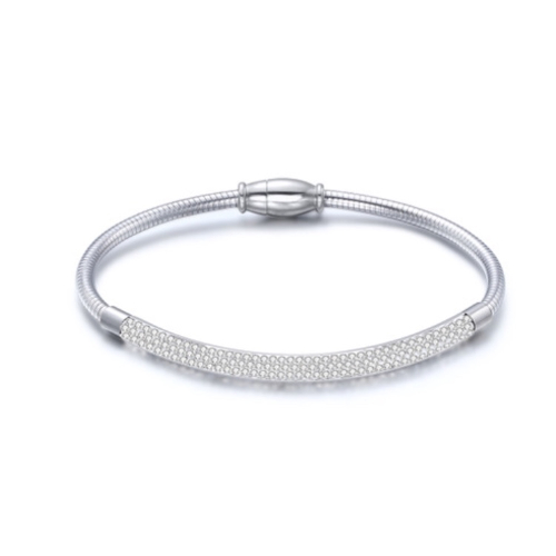 Stainless Steel Silver Bangle Bracelet with Cubic Zirconia