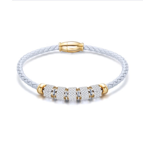 Stainless Steel White Leather Bracelet