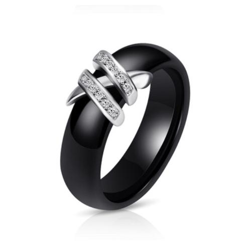 Black Porcelain CZ Ring