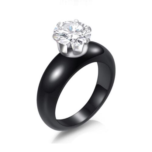 Black Porcelain Solitaire Ring