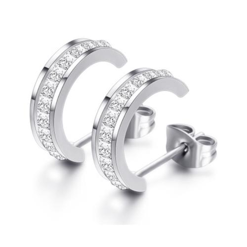 Stainless Steel Half Moon Silver Rhinestone Earrings