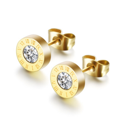 Stainless Steel Roman Numerals Stud Earrings