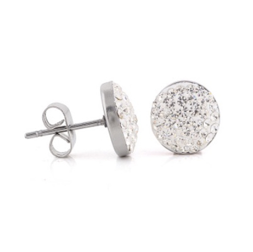 Silver Rhinestone Stud Earrings