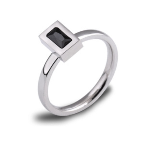 Stainless Steel Black Stone Ring