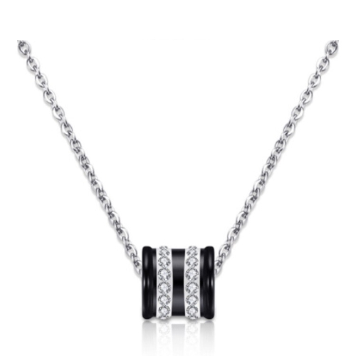 Stainless Steel Cubic Zirconia Black Pendant Necklace