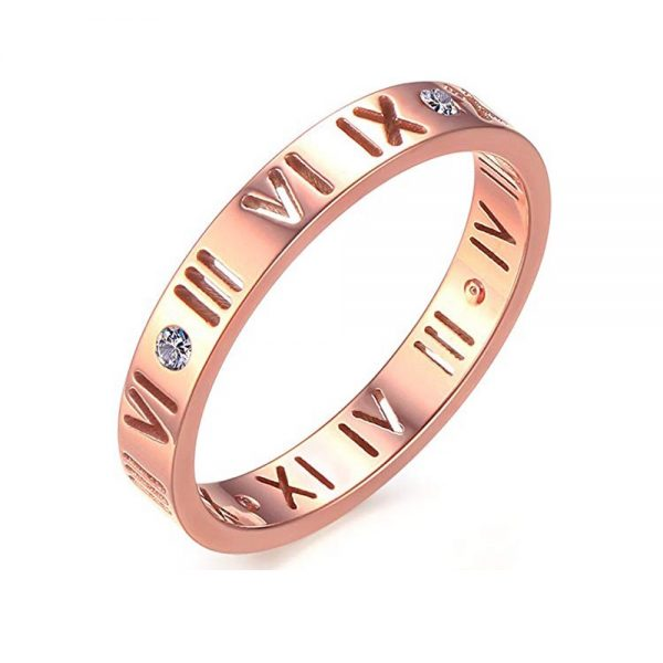 Stainless Steel CZ Roman Numeral Ring