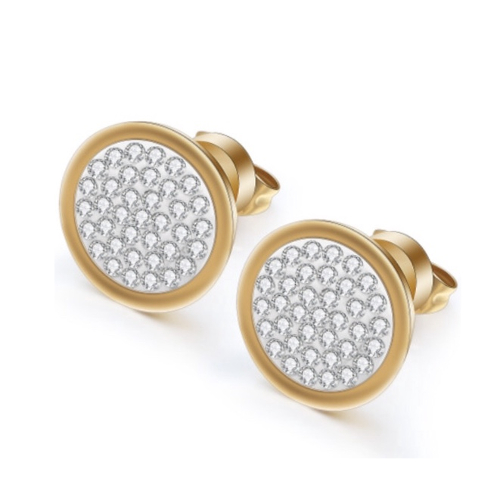 Stainless Steel Gold Rhinestone Earrings