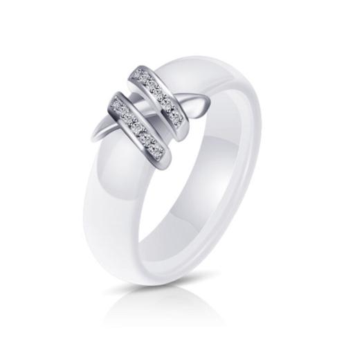 White Porcelain CZ Ring