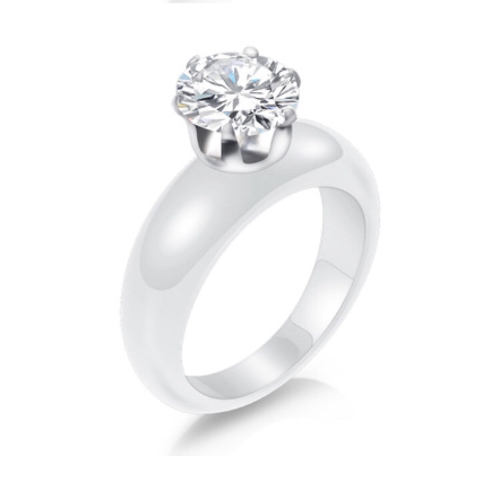 White Porcelain Solitaire Ring