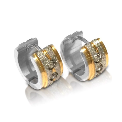 Stainless Steel Silver/Gold CZ Huggie Earrings