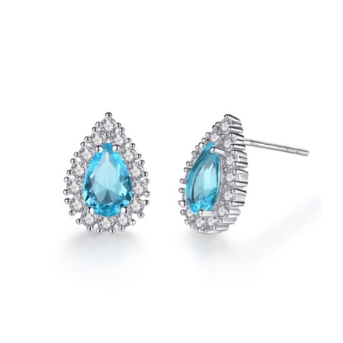 Blue Drop CZ Earrings