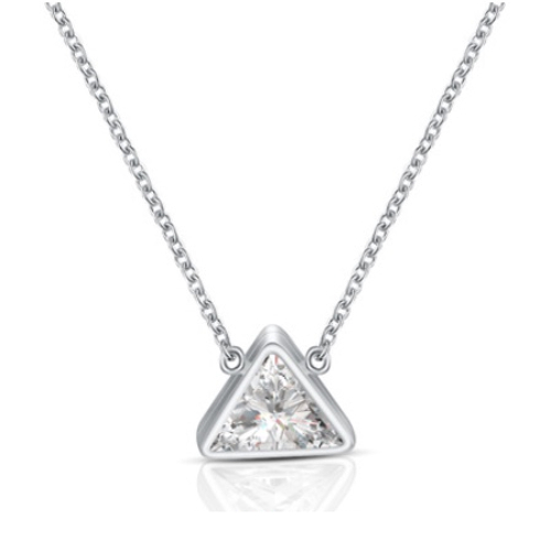 Stainless Steel Silver Triangle Necklace Custom Jewelry