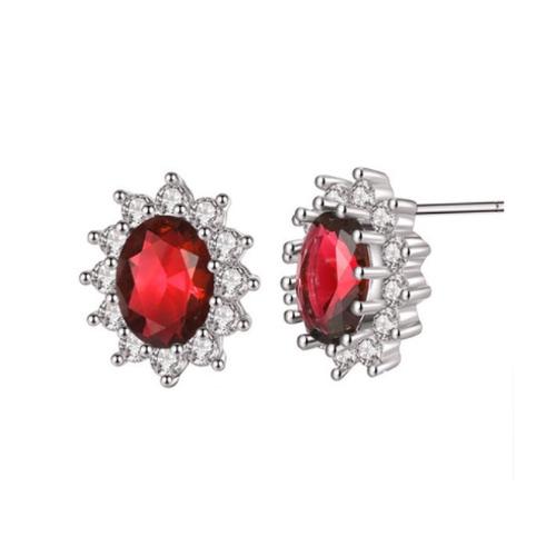 Red Flower Rhinestone Stud Earrings